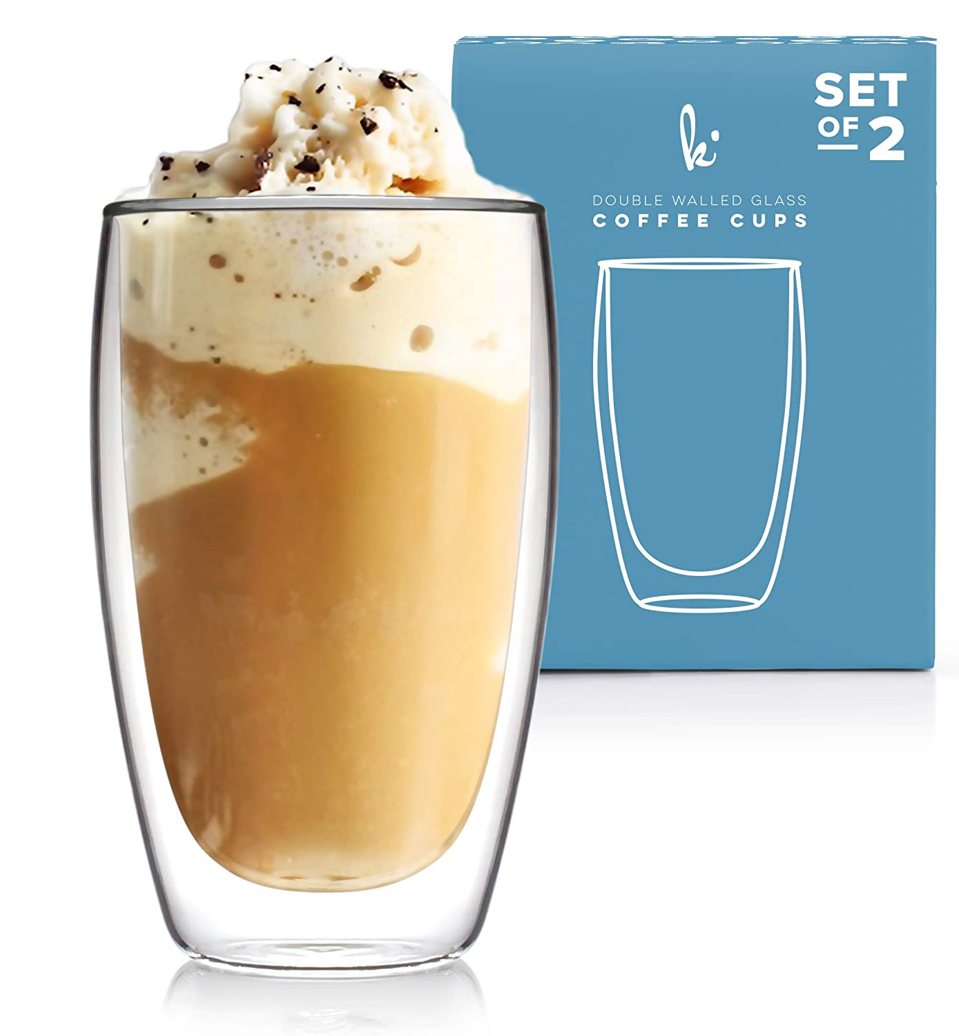 Coffee or Tea Glass Mugs Drinking Glasses Set of 2-15oz Double Walled Thermo Insulated Cups Latte Cappuccino Espresso Glassware