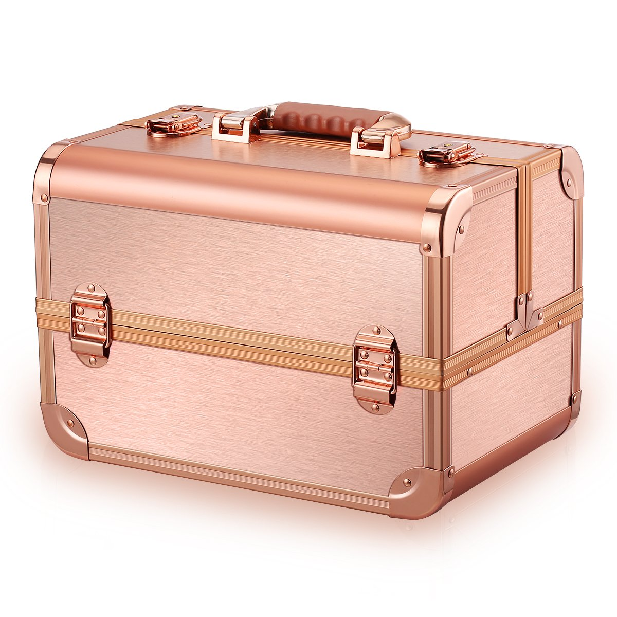 Ovonni Professional Portable Makeup Train Case, Artisit Lockable Aluminum Cosmetic Organizer Storage Box with Adjustable Dividers 4 Trays,Rose Gold
