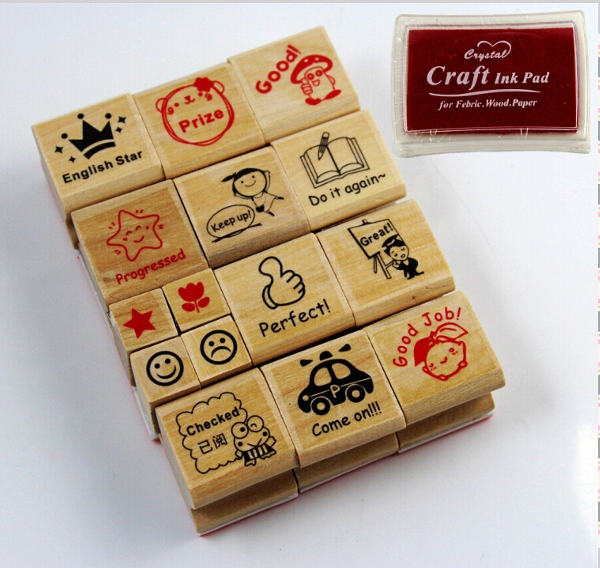 CHENGYIDA Arts Woodblock Stamp Set, Hero Kids reward Education Praise for Teachers Parents -- 1 RED INKPAD FREE Ltd