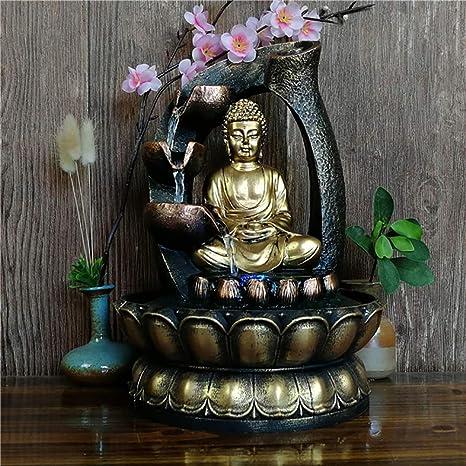 Fuente de Buda Feng Shui Decoración de Interiores, Meditación Zen Escultura Fuentes de Mesa para jardín Sala de Estar Dormitorio: Amazon.es: Deportes y aire libre