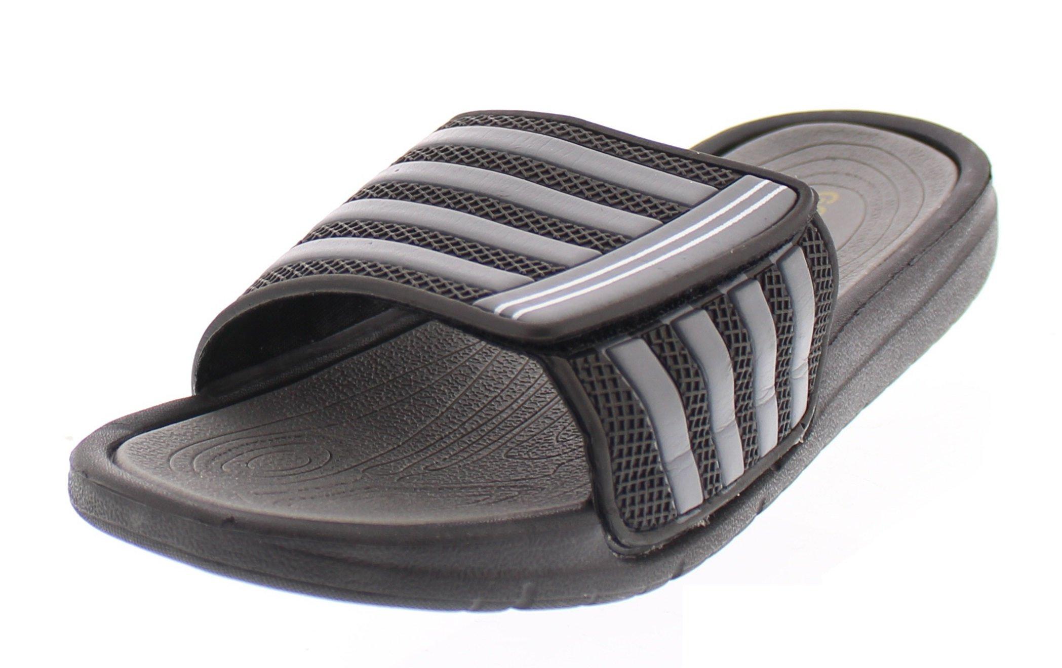 Gold Toe Men's James Athletic Stripe Adjustable Slide Sandals Casual Open Toe Casual Summer Slipper Shoes Black 9.5D US