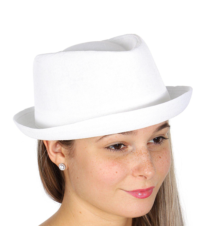 Short Brim Sun Roll up Brim Fedora Hat, Unisex, Sleek White