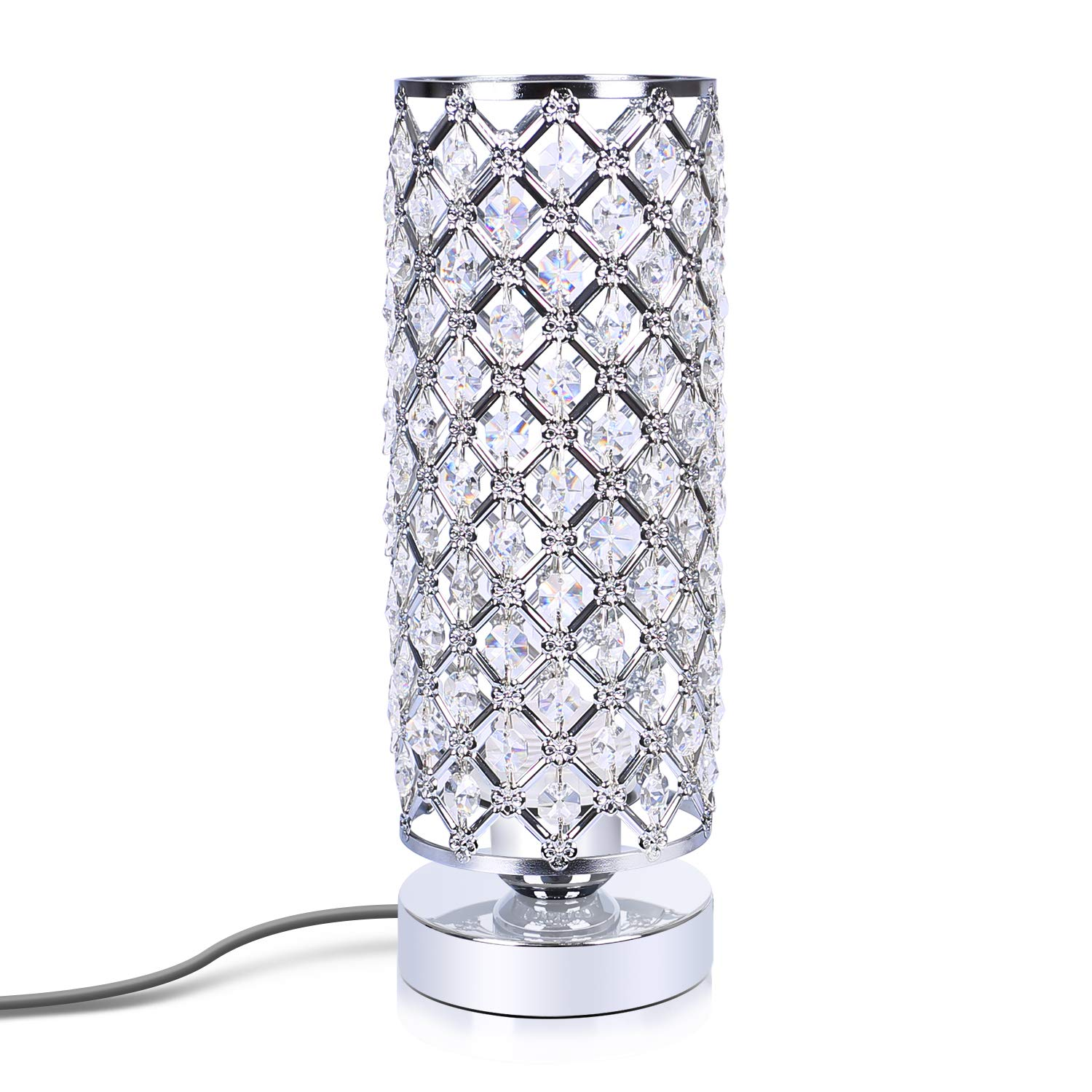 Crystal Bedside Table lamp, Aooshine Elegant Design Crystal Beside lamp, Round Bedroom Lamps, Table lamp for Living Room, Dressing Room, Family Room,