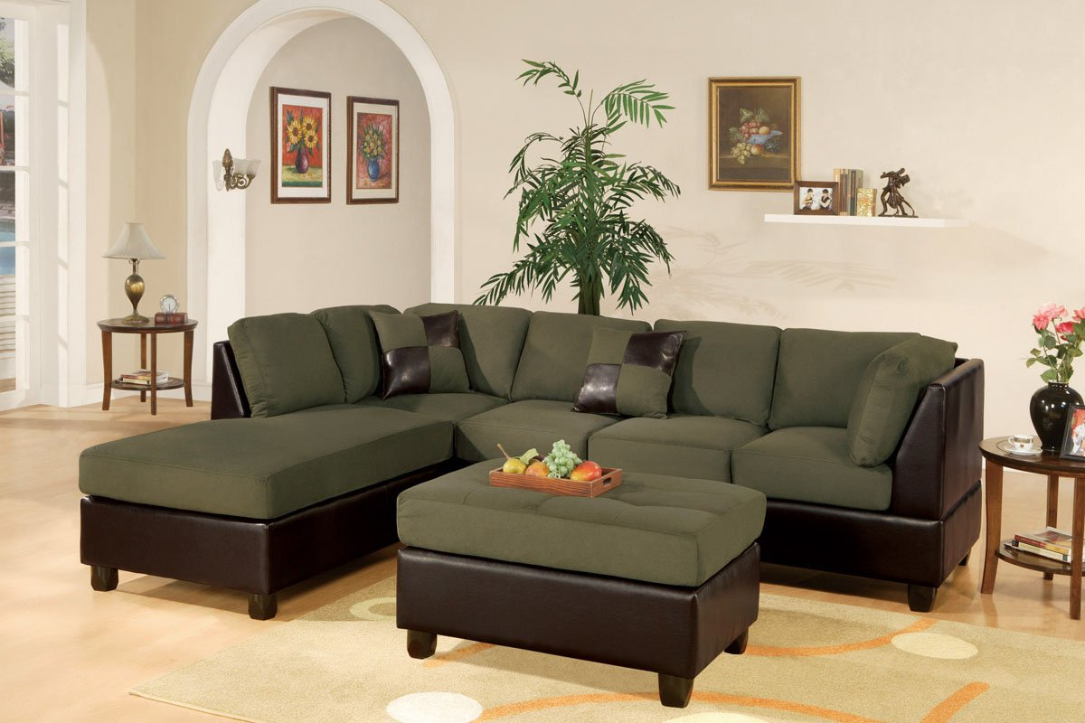 amazoncom montpellier 3piece sectional sofa set in leather with free ottoman and pillows sage kitchen u0026 dining - 3 Piece Sectional Sofa