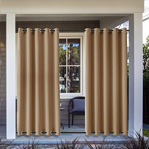 Frelement Extra Long Outdoor Curtains Windproof Window Drapes Panels