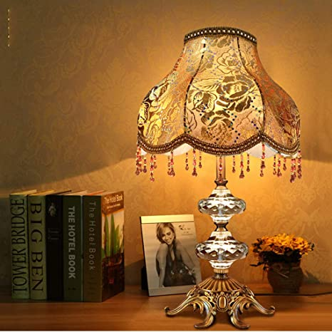 Amazon.com: Yat Brass Desk Lamp Crystal Antique Table Lamp ...