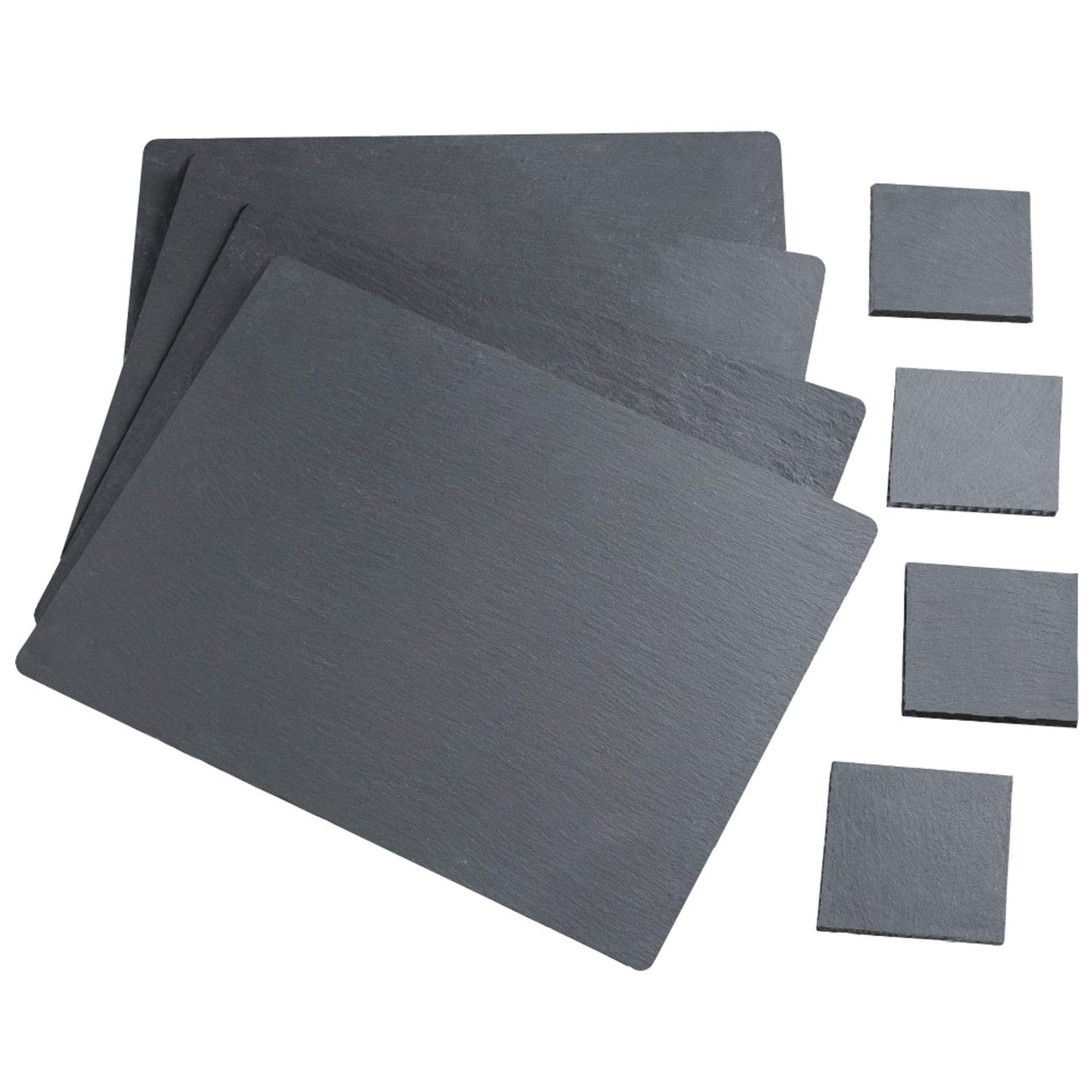 VonShef Natural Slate Placemat and Coaster Dining Table Set for 4 People, Anti Skid and Heat Resistant, 8 Piece, 16 x 12 Inches by VonShef