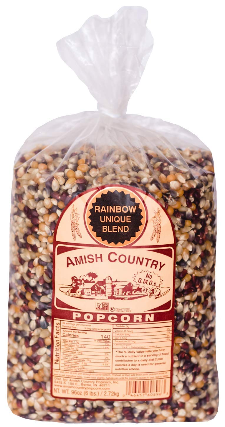 Amish Country Popcorn   6 lb Bag   Rainbow Popcorn Kernels   Old Fashioned with Recipe Guide (Rainbow - 6 lb Bag)