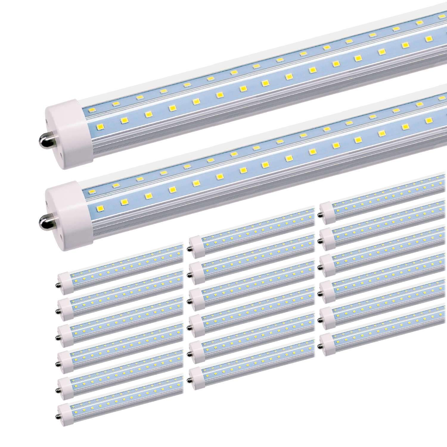 JESLED T8/T10/T12 8FT LED Tube Light, Single Pin FA8 Base, 50W 6000LM 5000K Daylight White, 270 Degree V Shaped LED Fluorescent Bulb (130W Replacement), Clear Cover, Dual-Ended Power (20-Pack)