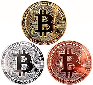 Gold Plated Bitcoin Coin Set of 3 with 1 Pcs Bitcoin Pin - Physical Bitcoin Blockchain Cryptocurrency Coin in Protective Collectable Gift Velvet Bag