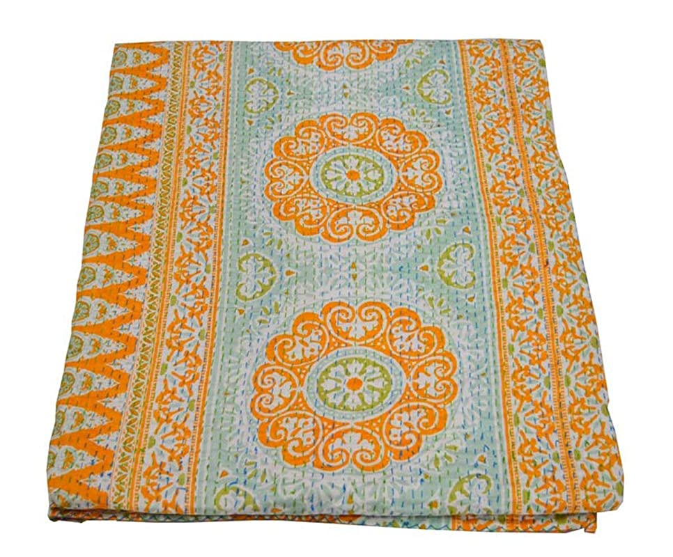 Floral Multi Color Indian Traditional 100/% Cotton Vintage Handmade Kantha Quilt Bedspread Bohemian Bedding Throws Blankets Bed Room D\u00e9cor