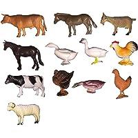 12 Pieces 3D Plastic Zoo Safari Forest Educational Animals Figures -8cm Farm Animals