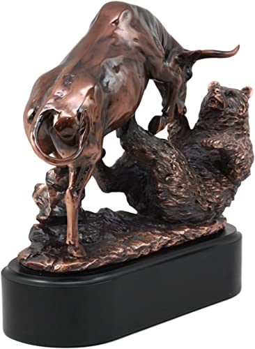 Ebros Wall Street Stock Market Charging Bull Trouncing Bear Statue with Pedestal Base Bronze Electroplated Resin Sculpture of Bull VS Bear Ideal Gifts for Financial Investment Managers Investor