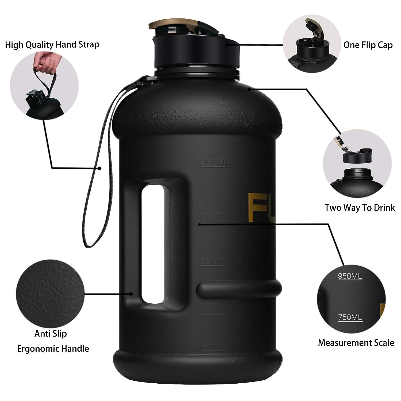 Botella de Agua Grande de 1,3 l a Prueba de Fugas sin Olor Escalada al Aire Libre FUNUS Gimnasio Gran Capacidad Mujeres sin BPA 45 onzas Reutilizable para Hombres