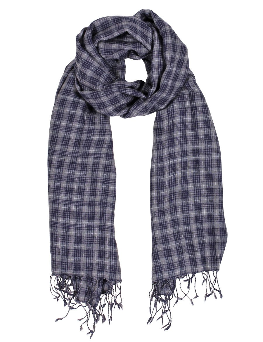 Anika Dali Men's Marco Check Plaid Scarf in Soft Wool with Tassels by Anika Dali (Image #6)