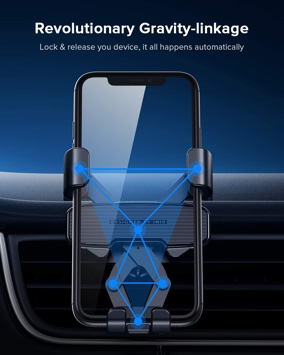 360/° Universal Hands Free Car Cell Phone Holder for iPhone 11 Max Pro XS X 8 Plus Samsung S10 Google Oneplus LG GPS etc Gravity Auto Lock /& Release Air Vent Phone Holder for Car INIU Car Phone Mount