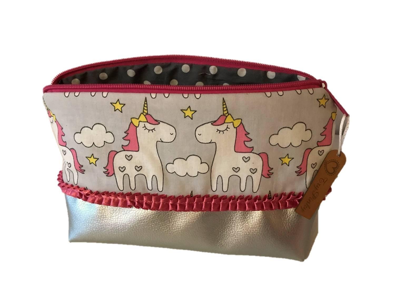 TryPinky® XL Handmade Kulturtasche  Einhörner Grau Silber  Kunstleder Kulturbeutel für Damen Groß unicorn pink Kosmetiktasche Schminktasche Make Up Case