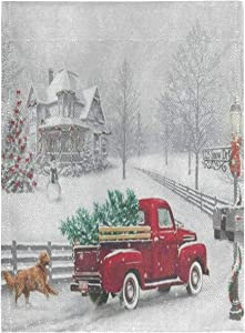 Yulife Christmas Red Truck Garden Flags 12 x 18 Winter Dog Snowflake Xmas Tree Double Sided House Flag Cardinal Snowman Welcome Holidy Yard Outdoor Flag Banner for Party Christmas New Year Decor