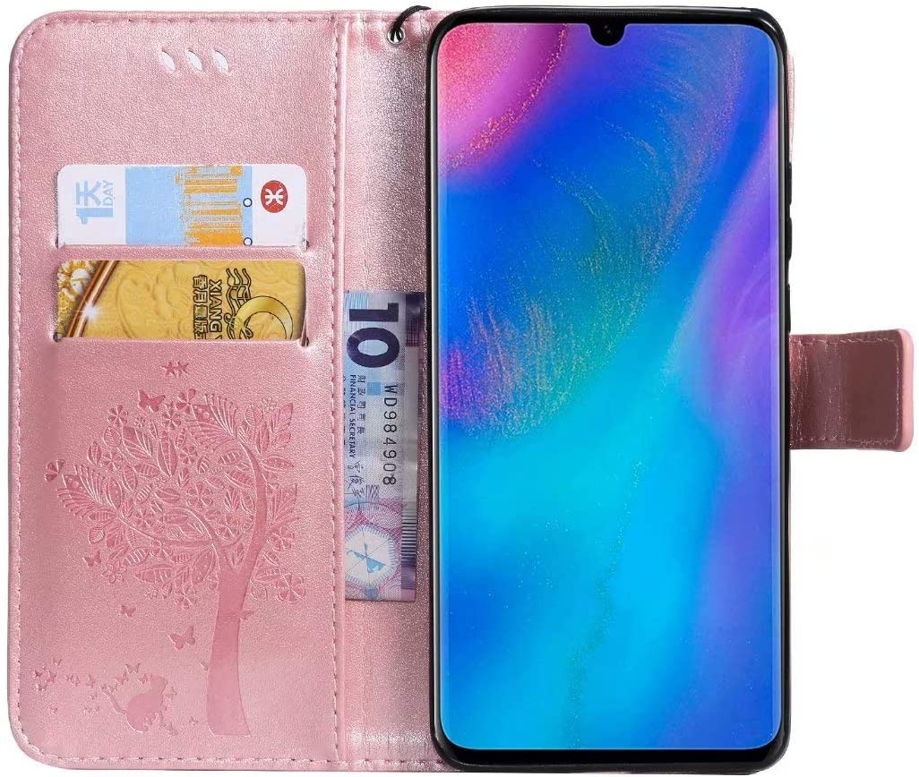 Veapero Samsung Galaxy A70 Case,Embossed Tree PU Leather Shockproof Flip Wallet Cover with TPU Card Slots Magnetic Closure Stand Function Folio Notebook Protective Skin,Rose Gold