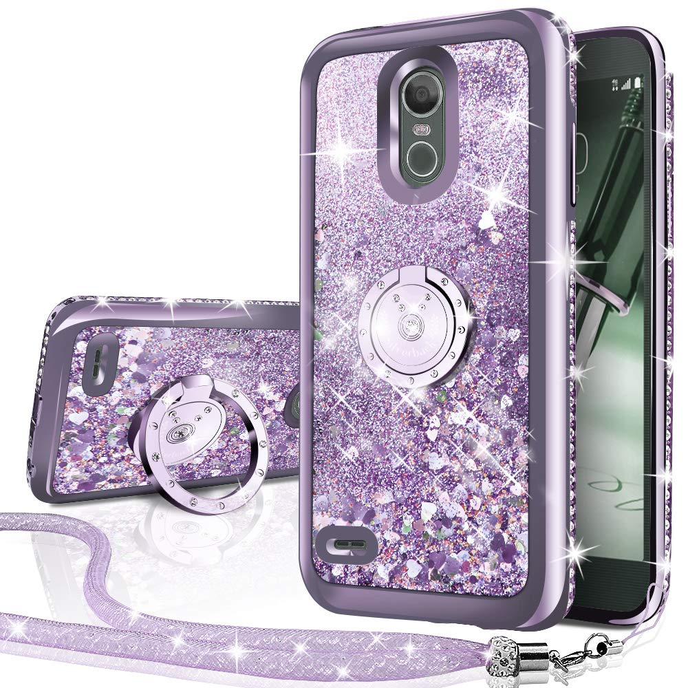 LG Stylo 3 Case,LG Stylo 3 Plus Case,Stylus 3 Case, Silverback Moving Liquid Holographic Sparkle Glitter Case With Ring,Girls Women Bling Diamond Rhinestone Bumper, Protective Case for LG LS777-Silver