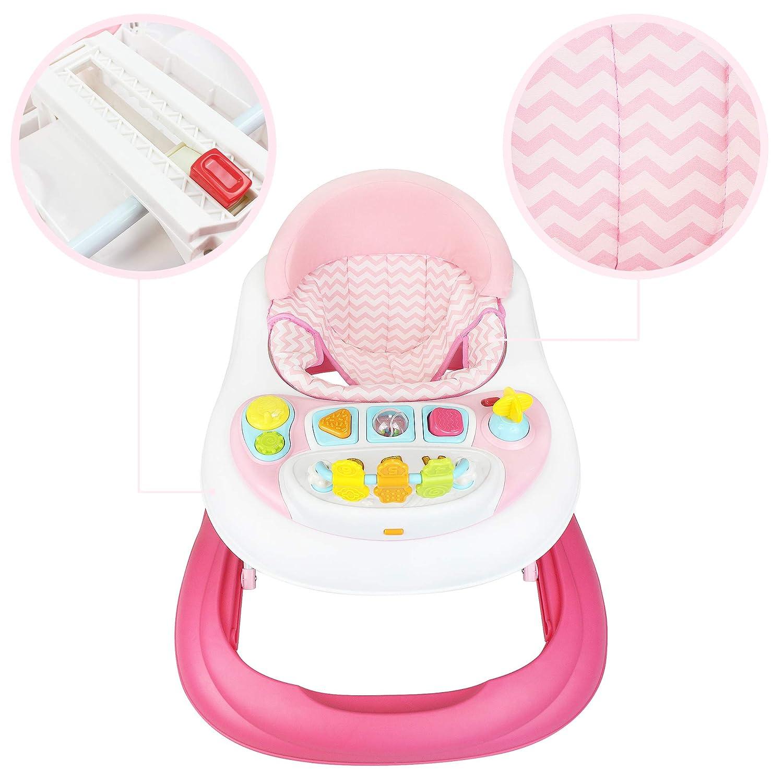 Centro de actividades para beb/és Material: PP Andadera Rango de edad: 6 a 18 meses Todeco Patr/ón Rosado con juguetes