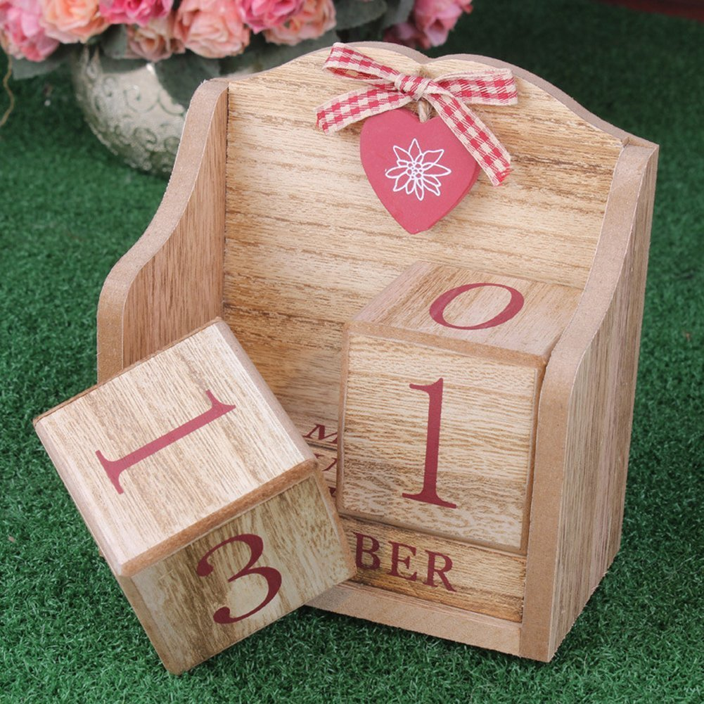 LANGUGU Novelty DIY Wooden Blocks Daily Perpetual Desk Calendar Photography Props Christmas Crafts Home Office Decoration (Pink) by LANGUGU (Image #2)