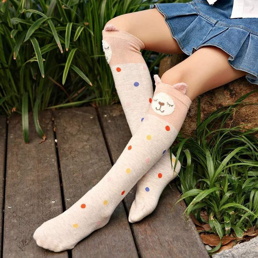 kaiCran Toddler Baby Christmas Soft Warm Socks Cartoon Cat Coral Velvet Knee High Stockings for Girls Gift