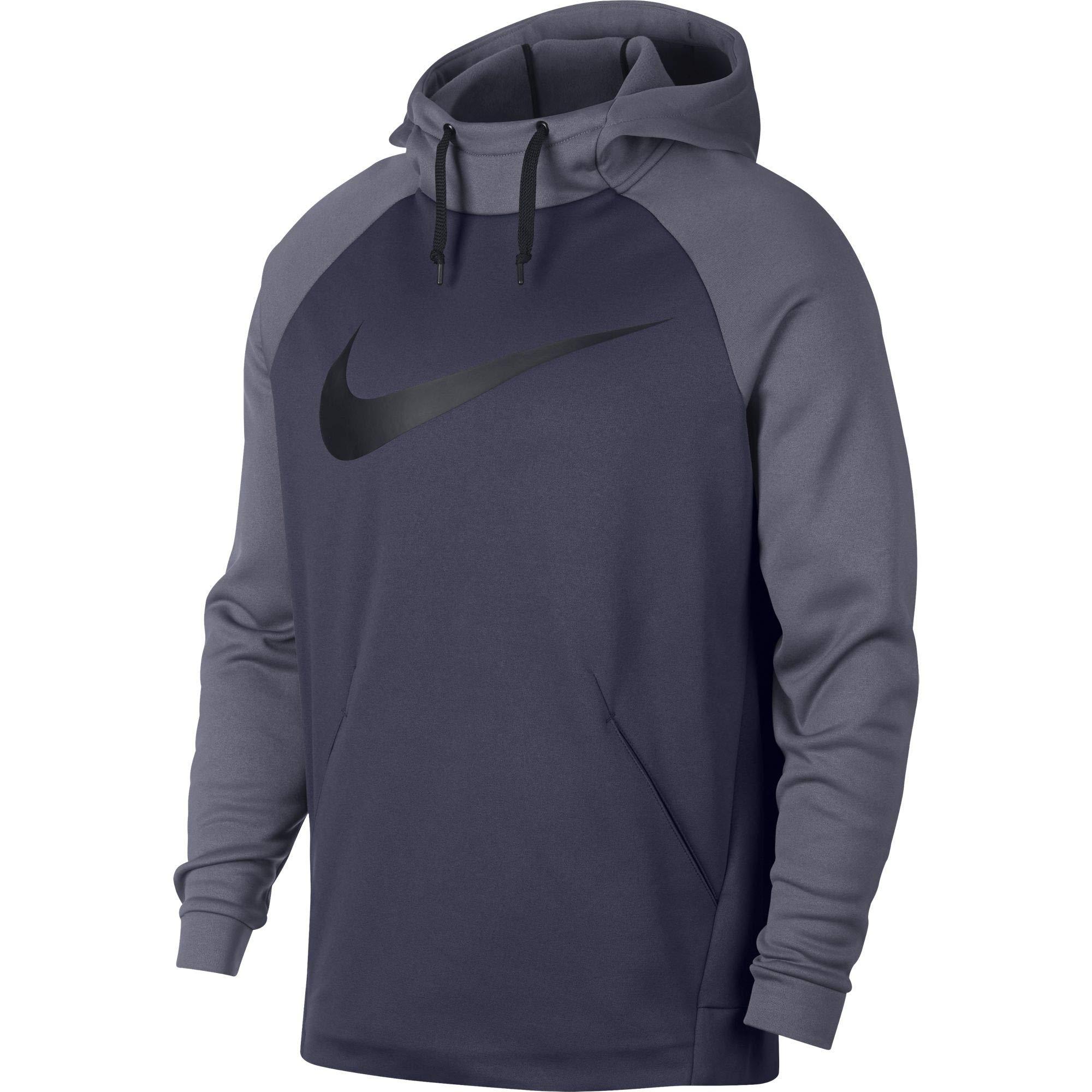 Nike Men's Therma Swoosh Training Hoodie Thunder Blue/Light Carbon/Black Size Small
