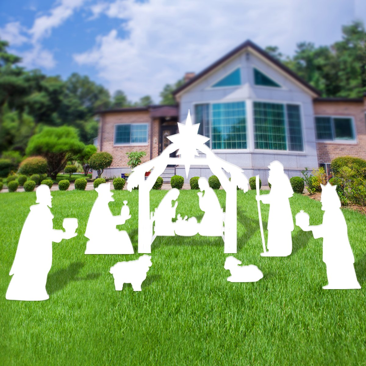 Outdoor Nativity Set, Full Yard Nativity Scene for Classic Christmas Story by None