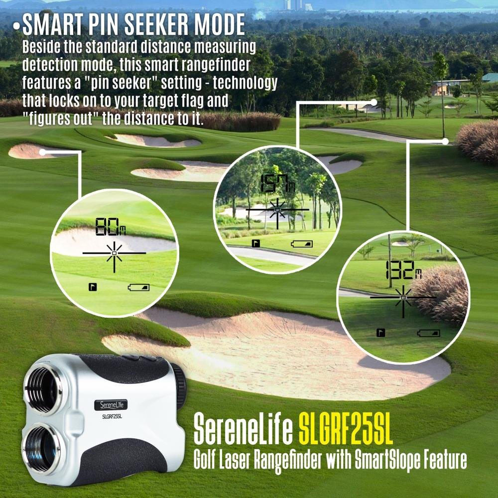SereneLife Premium Slope Golf Laser Rangefinder with Pinsensor - Digital Golf Distance Meter - Compact Design -With Case by SereneLife (Image #7)