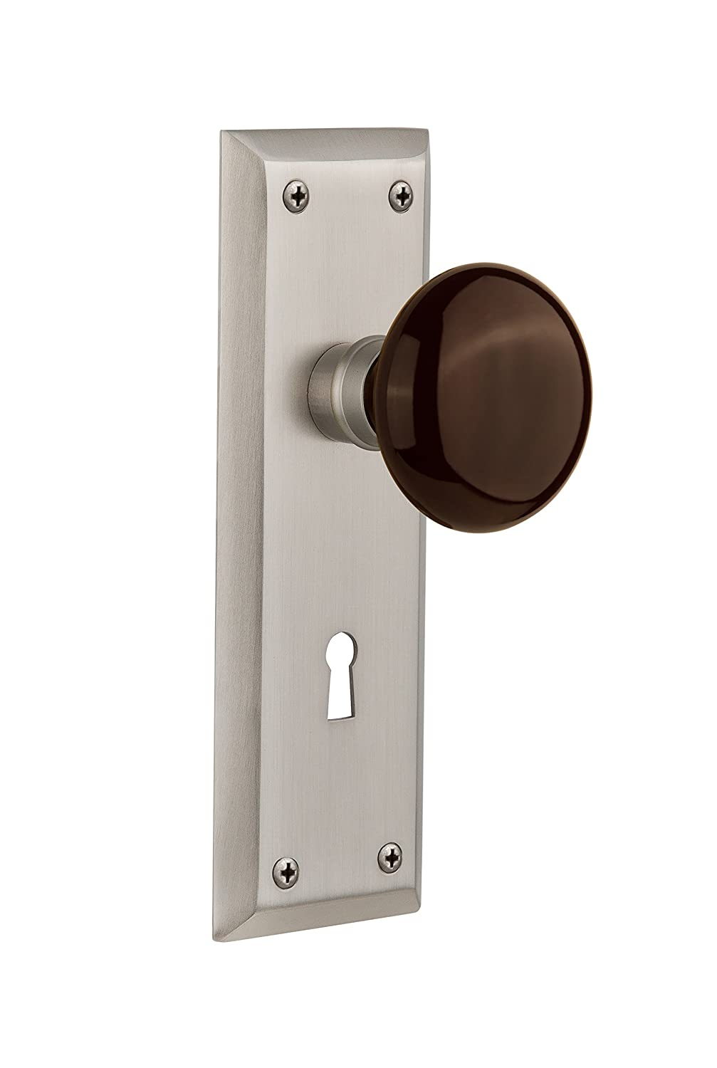Nostalgic Warehouse New York Plate with Keyhole Brown Porcelain Knob 2.75 Timeless Bronze Privacy