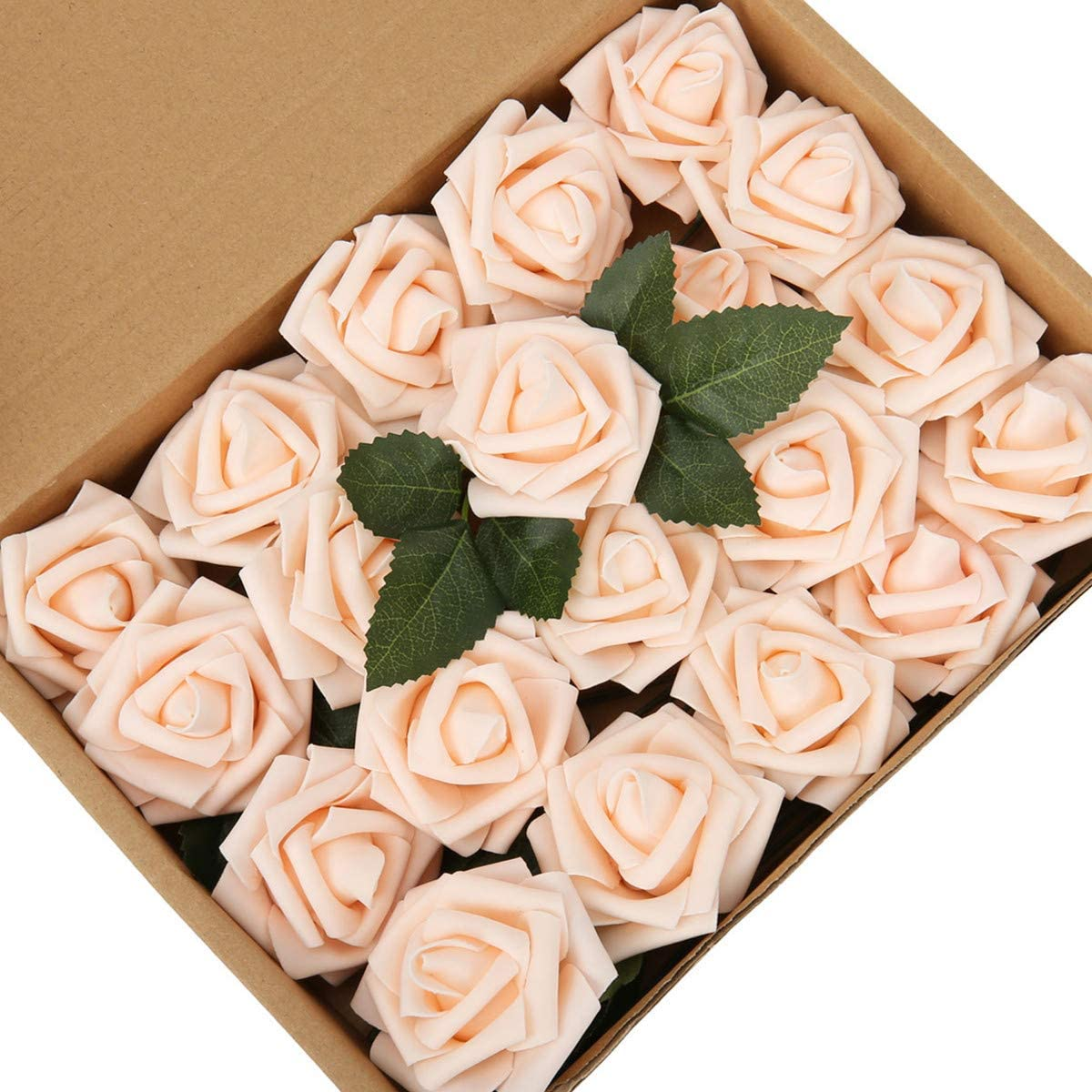 LIVILAN Champagne Artificial Roses Flowers with Stem and Leaf 20pcs Fake Foam Roses Faux Flower for DIY Artificial Flower Arrangement Wedding Bouquets Centerpiece Bridal Shower Party Home Decoration