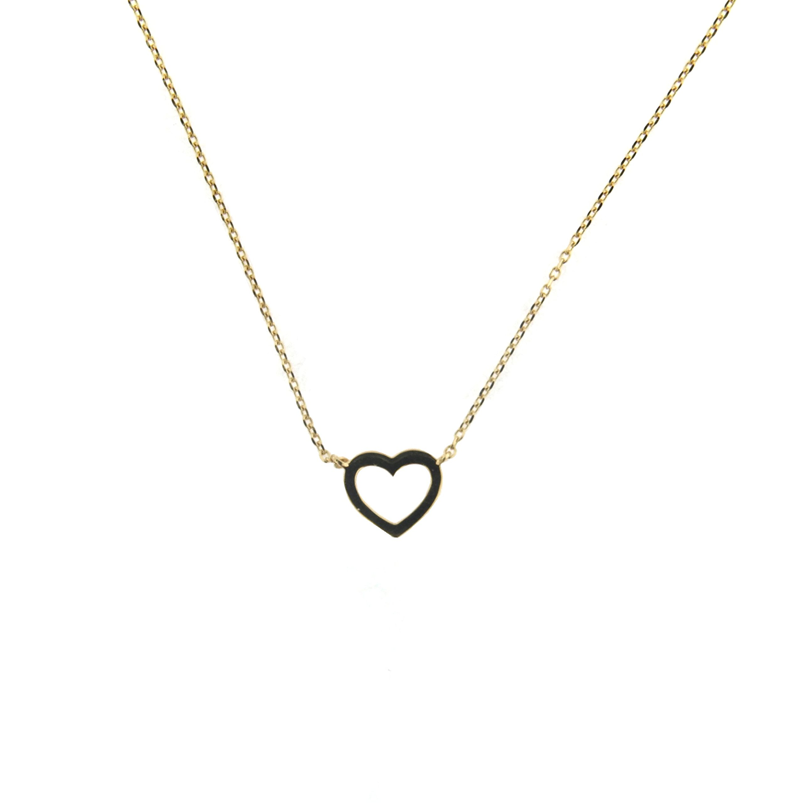 18K Yellow Gold Heart Necklace 16 inches with extra ring at 15 inches