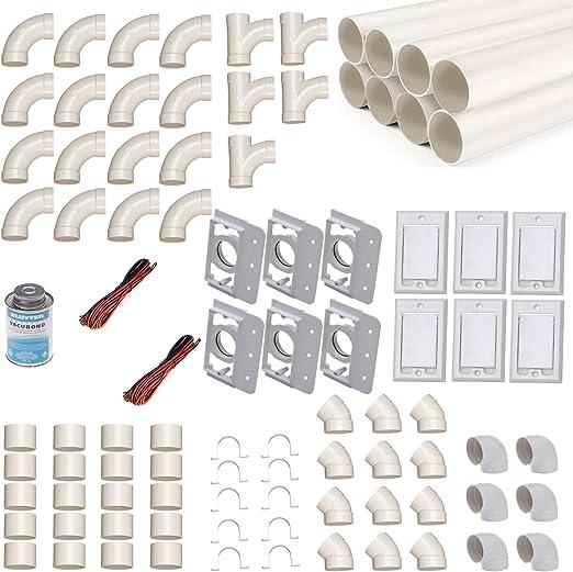 Kit de montaje de aspirador central para 6 tubos de aspiración con tubos, accesorios y similares. -