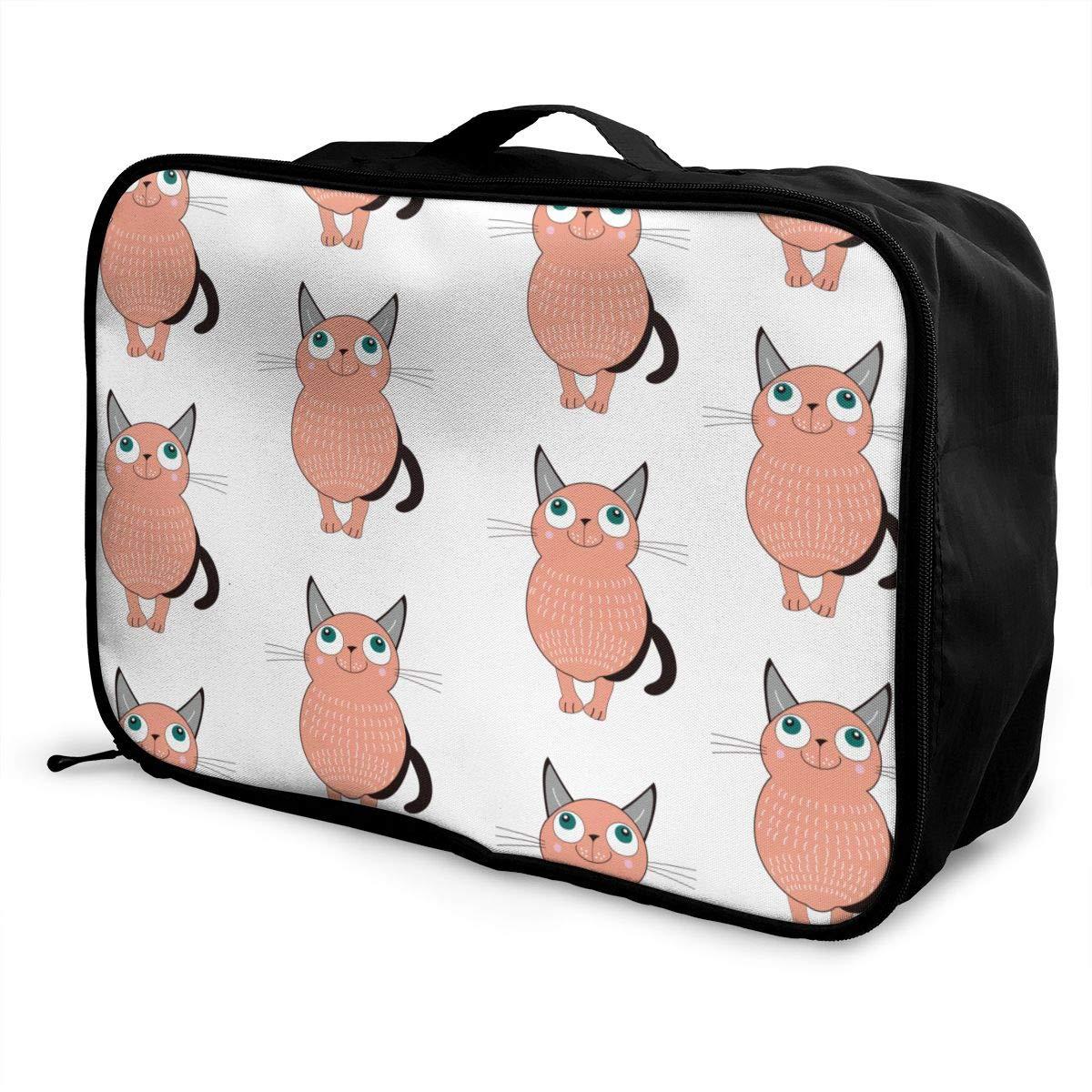 Cute Cat Travel Luggage Storage Bag Duffel Bag Handle Makeup Bag Fashion Lightweight Large Capacity Portable Luggage Bag