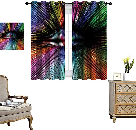 Eye Polyester Window Curtain Panels Abstract and Bright Colored Shape
