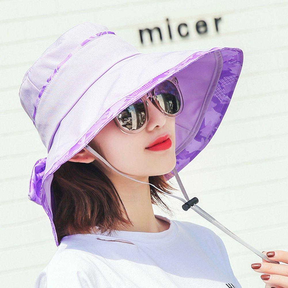 Purple LShat Summer Hat, Sun Hat Women Bowknot Design Wide Brim Floppy Foldable AllMatch Summer Travel, 6 colors Optional  & (color   Azure)