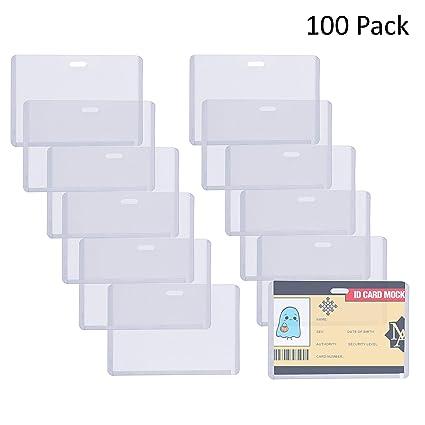 Fundas Tarjetas Identificación (100 Piezas) - 6,7 x 10cm Portatarjetas de Vinilo Horizontal para Escuelas, Universidad, Eventos, Trabajadores de ...