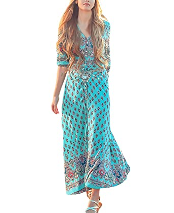 8477825384f96a Kleider Damen Lang Festlich Elegant Strandkleider Vintage Boho Ethno Style  V Ausschnitt 3/4 Ärmel Lässig Blusenkleider Lange Sommerkleider Für Mädchen  ...