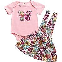 First Birthday Outfit for Baby Girls Summer Romper Flower Skirt Hairband Set
