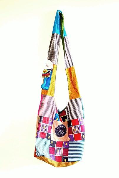 539ba241bb1403 Om Peace Sign Hand Crafted Cotton Shoulder Bag Purse Cross Body (black)  (Oliver