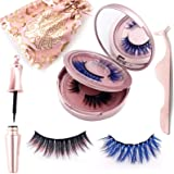 miaowang 6D Magnetic Brown Eyelashes and Magnetic Eyeliner Kit 3 Style with Tweezers (Blue and Dark Red)