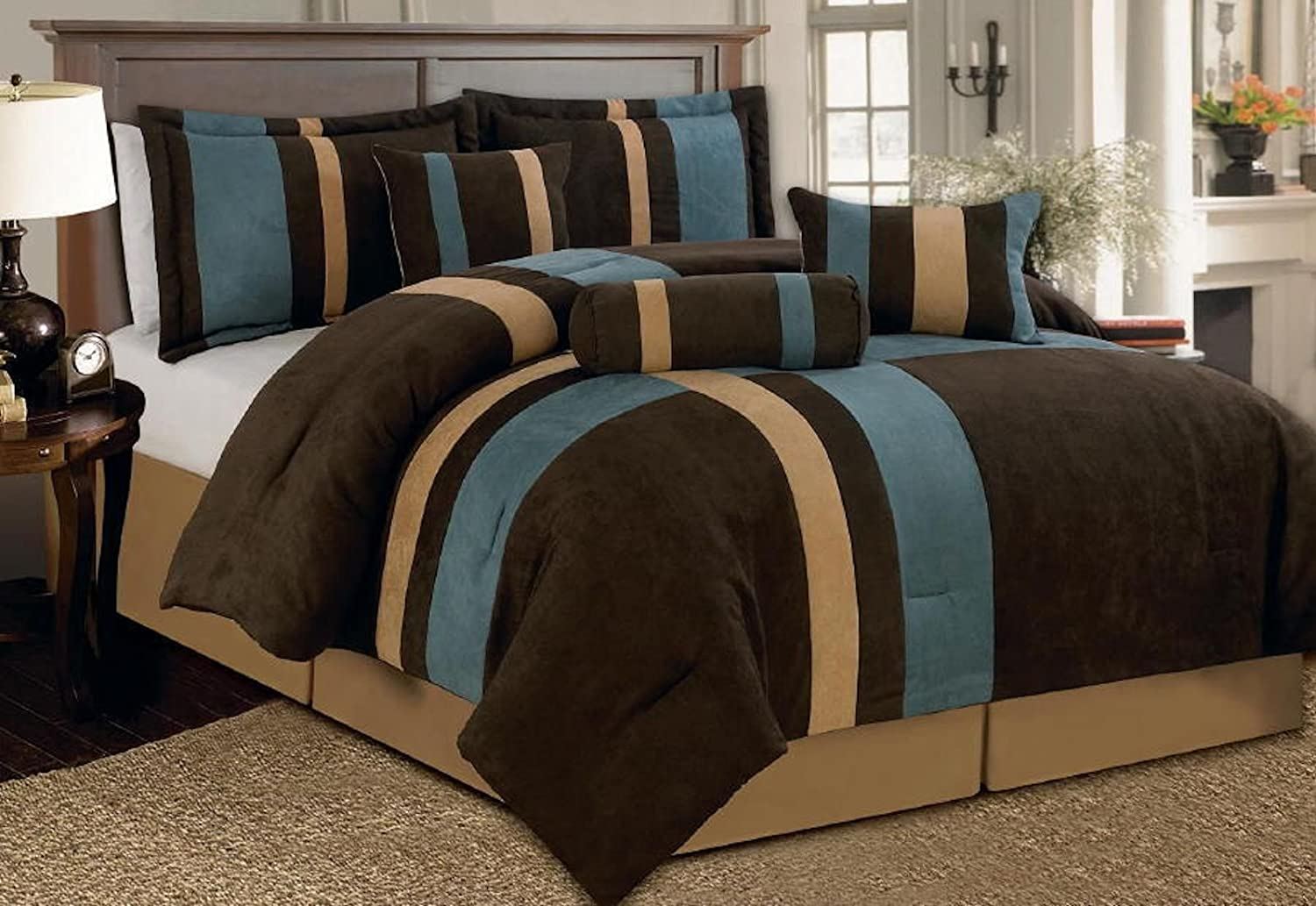 Legacy Decor 7 Piece Brown, Beige, and Blue Micro Suede Baywood Comforter Set Machine Washable Bed-in-a-Bag Set (Full)