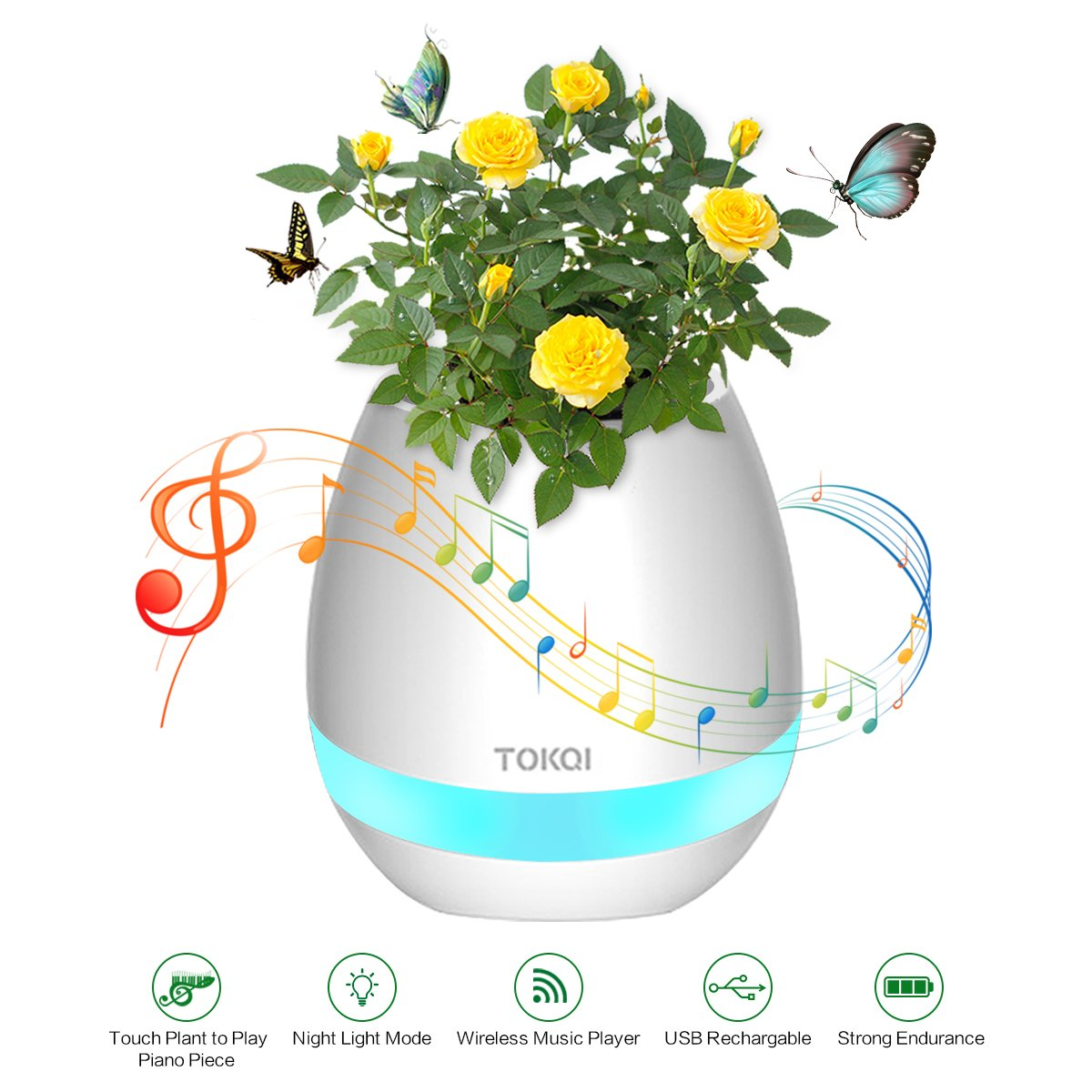 Bluetooth Speaker Smart Music Flower Pot PATHONOR Colorful LED Night Light Touch Plant Piano Music Playing Creative Wireless Speaker for Home Office(Without Plants) by PATHONOR