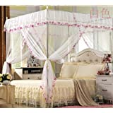 Elegant White Four Corner Bed Canopy Mosquito Net (Twin)