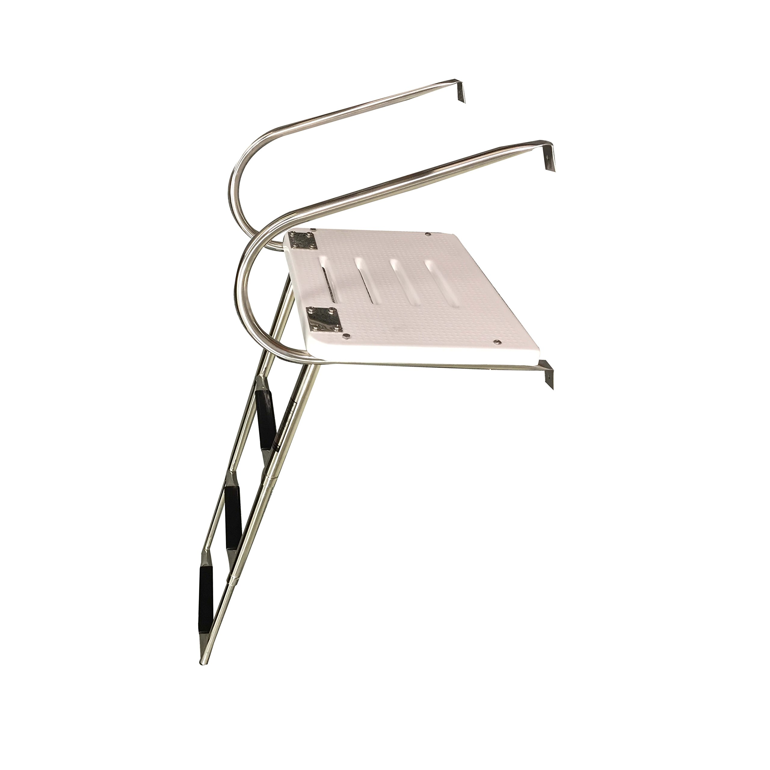 Pactrade Marine Boat Universal Swim Platform under Mount Telescopic Ladder, 3 Step in/Outboard by Pactrade Marine
