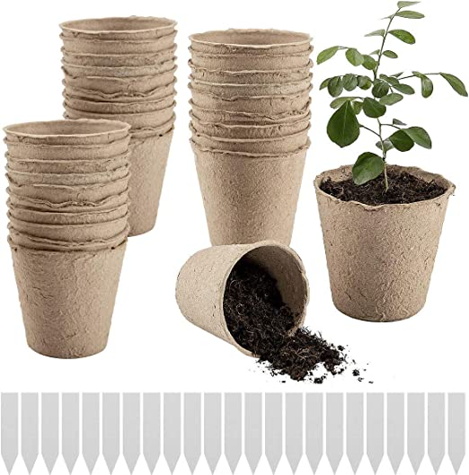 100/% Eco-Friendly and Biodegradable with Bonus 50 Plastic Plant Markers Plant Seedling Saplings /& Herb Seed Starters Kit Vegetable Tomato Seed Germination Trays PAMASE 100 Pcs 3 Large Peat Pots