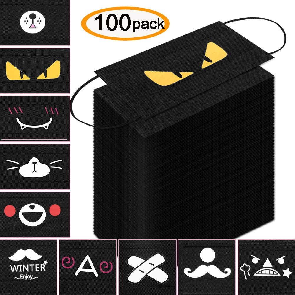100 Pcs Disposable Face Masks Dust Mask Cute Anime Mask Breathable Dust Filter Masks Mouth Cover Masks with Elastic Ear Loop (Black, 10 Anime Pattern) by Accmor