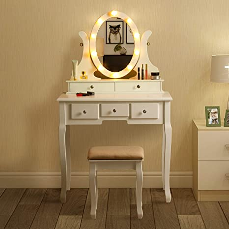 Miraculous Maismoda Vanity Table 10 Led Lights 5 Drawers Makeup Dressing Desk With Cushioned Stool Set White Pabps2019 Chair Design Images Pabps2019Com