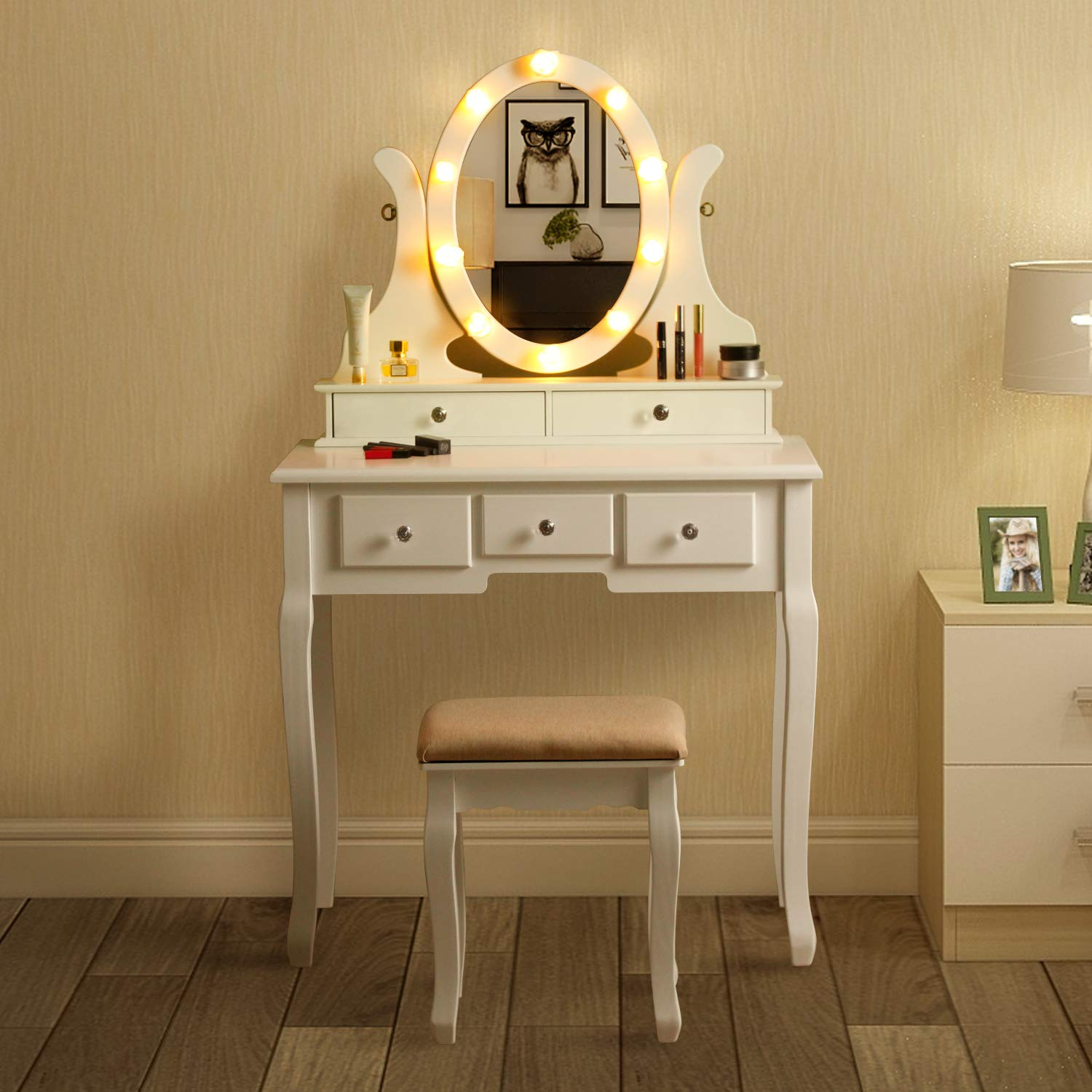 MAISMODA Vanity Table 10 LED Lights, 5 Drawers Makeup Dressing Desk with Cushioned Stool Set, White